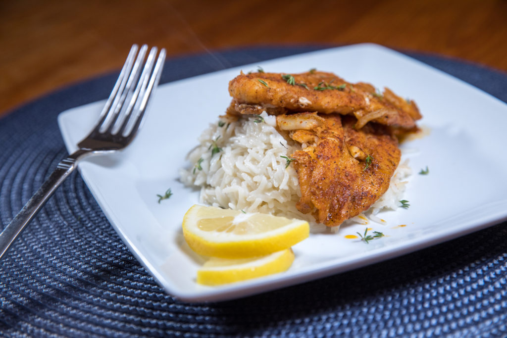 Blackened Trout with Herbed Coconut Milk Rice