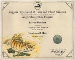 Freshwater Fish Award Certificate